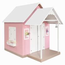 Casinha de Brinquedo com Telhado Branco/Rosa - Criança Feliz -