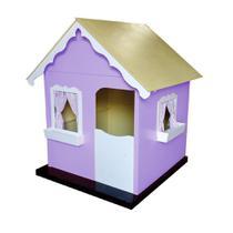 Casinha Infantil de Brinquedo com Cortina Lilás/Branco - Criança Feliz -