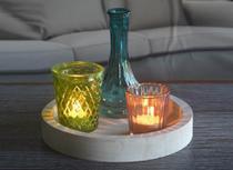 Castiçal c/ 3 peças Bandeja de Madeira - Cute Glass Color - Urban