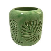 Castiçal Em Cerâmica Folhas de Adão Verde - Urban