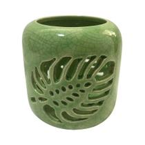 Castiçal Em Cerâmica Folhas De Janela Vazada Verde - Urban