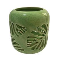 Castiçal Em Porcelana Folha Vazada - Verde - Urban -