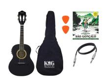 Cavaco Elétrico Vogga VCC524 Preto Capa Cabo Palheta - King Musical