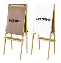 Cavalete Flip Chart Porta Bloco Compacto Dupla Face com Quadro Branco e Duratex estrutura em Madeira Altura Ajustável 1,63 ou 1,72 m - 2511 Souza -