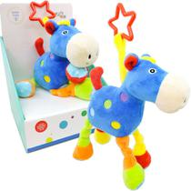 Cavalo De Pelúcia Colorido Com Chocalho Azul Unik Toys -