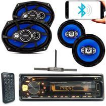 Cd player Aparelho Radio Bluetooth Usb Automotivo Roadstar + 1 Par Alto Falante 6x9 + 1 Par 6 Pol -