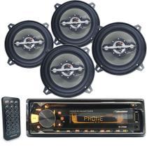 Cd player Aparelho Radio Bluetooth Usb Automotivo Roadstar + 2 Pares Alto Falante 5 Polegadas Leson -