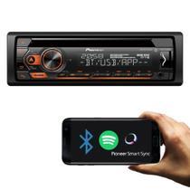 Cd player pioneer deh-s4280bt 1 din bluetooth conexão android usb axu fm smart sync -