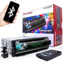 CD Player Pioneer DEH-X500BR Flashing Light Mixtrax USB AUX RDS Entrada Controle de volante Bluetooth Som Automotivo