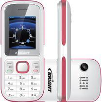 Celular Bright One Desbloqueado Dual Chip Câmera - Branco/Rosa -