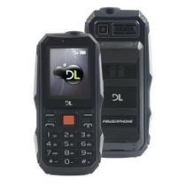 Celular DL PW020 PowerPhone, Função Power Bank, Lanterna, Tela 2 769, Radio FM, Memória Expansível 32GB, Desbloqueado, Dual Chip Preto -