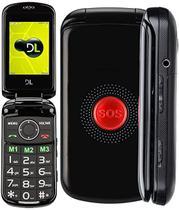 Celular Flip Para Idoso DL Botao SOS Dual Chip Camera  e Radio FM YC-130 Preto -