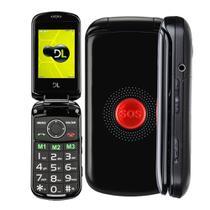 Celular Flip Para Idoso DL Botao SOS Dual Chip Camera VGA e Radio FM YC-130 Preto -