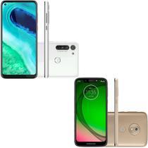 Celular Motorola Moto G8 Branco Prisma 4GB RAM 64GB + Celular Motorola Moto G7 Play Ouro 32GB -