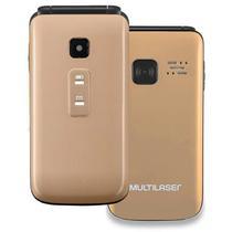 Celular Multilaser Flip Vita, Dual Chip, MP3, Câmera VGA, Rádio FM, Bluetooth, Dourado - Desbloqueado -
