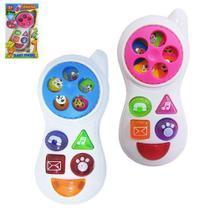 Celular musical infantil baby phone colors com luz a pilha na caixa - Phone Toys -