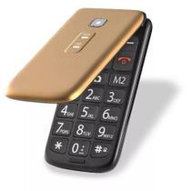 Celular P Idoso Flip Vita Multilaser Azul/dourado/vermelho -