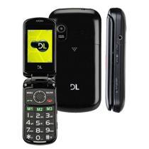 """Celular para Idoso DL YC-130, 2.4"""", Dual Chip, Câmera VGA, Rádio FM, MP3, função SOS Preto -"""