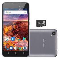 "Celular Smartphone 5"" MS50L 3G Quad Core Android Dual Chip 8GB+32GB Multilaser NB746 Grafite -"