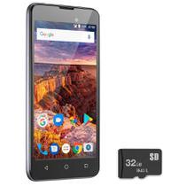 "Celular Smartphone 5"" MS50L 3G Quad Core Android Dual Chip 8GB+32GB Multilaser P9090 Cinza -"