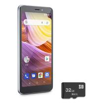 "Celular Smartphone Multilaser 3G Quad Core 5,5"" 8GB + SD 32GB 8MP Android MS50G NB747 Prata/Preto"