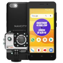 """Celular smartphone np852 navcity 4g 5""""+ camera de ação ng 100plus -"""