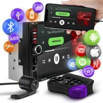 """Central Multimídia 2 Din 7"""" Bluetooth Espelhamento Android Iphone MP5 Controle e Câmera Shutt Miami -"""