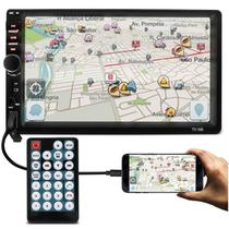 "Central Multimídia 2 Din 7"" HD Bluetooth Espelhamento Android USB SD P2 FM MP3 MP4 MP5 Com Controle - Prime"