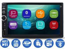"""Central Multimídia 7"""" 2din Mp5 Espelhamento Android Iphone Bluetooth Rádio Fm Usb Sd Aux Controle Entrada Câmera De Ré - First Option"""