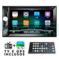 Central Multimídia DVD Mp5 Câmera ré TV GPS Bluetooth USB SD Espelhamento - Uberparts