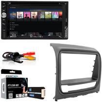 Central Multimídia Fiat Strada Adventure 2013 a 2014 com Multilaser Evolve+, Câmera De Ré, Moldura Cinza, Interface, Chicote e Adaptador de Antena -