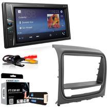 Central Multimidia Fiat Strada Adventure 2013 a 2014 com Pioneer MVH G218BT, Camera de Re, Moldura Cinza, Interface, Chicote e Adaptador de Antena -