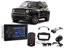 Central Multimídia Jeep Renegade PCD até 2017 HDV-4010 H-Tech + Camera de ré + Chicotes + Moldura - Positron