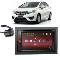 Central Multimídia Pioneer Avh-A218bt+ Moldura 2 Din + Câmera Ré New Honda Fit - Central pioneer