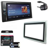 Central Multimidia Renault Megane 2007 a 2011 com Pioneer DMH-G228BT, Camera de Re, Moldura Prata e Interface -