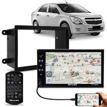 "Central Multimídia Shutt Las Vegas 7"" Bluetooth USB Android IOS + Moldura Cobalt Prisma Onix Spin -"