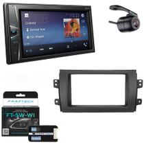 Central Multimidia Suzuki SX4 2009 a 2014 com Pioneer DMH-G228BT, Camera de Re, Moldura e Interface -
