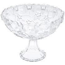 Centro de mesa fruteira vidro com pé flores 22 cm 1800 ml - Wincy