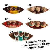 Centro Mesa Prato Decorativo 3 Bolas Enfeite Sala Ceramica - Centro Mesa Barca Pequena