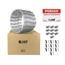Cerca concertina dupla galvanizada 30cm caixa para 10 metros com kit de instalação (80 voltas) - Hf Metalúrgica