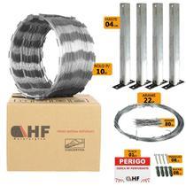Cerca concertina simples galvanizada 30cm caixa para 10 metros com kit de instalação (40 voltas) - Hf Metalúrgica