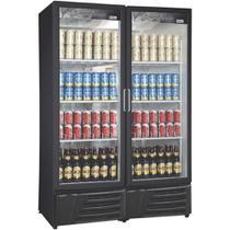 Cervejeira Dupla Vertical Portas de Vidro 1200L RF018 Preta Frilux -