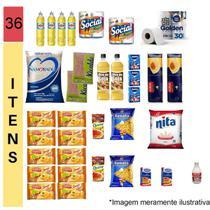 Cesta Básica Completa Alimentos Higiene E Limpeza - 36 itens - Doações - Diversas