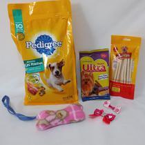 Cesta Básica Pet para cachorro - Ração, petisco e acessórios - Ninelai