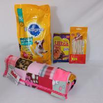 Cesta Básica Pet para cachorros - Kit ração, petiscos acessórios rosa - Ninelai