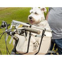 Cesta Cadeirinha para Cachorro Bike Pet Basket Ajustável Desmontável Bege -
