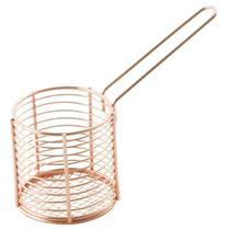 Cesta com Alça para Servir Petiscos Batata frita Redondo em Aço Inox e Bronze 9cm - Mimostyle