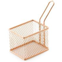 Cesta com Alça para Servir Petiscos Batata frita Retangular em Aço Inox e Bronze 9cm - Mimostyle