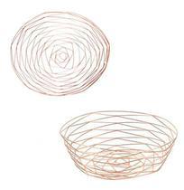 Cesta / fruteira de mesa aramado oval metalizado rose gold 30,5x25,5x10cm - AMIGOLD