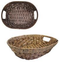 Cesta / fruteira de mesa oval de plastico tipo vime com alca colors 35,5x27x8,7cm - Fwb